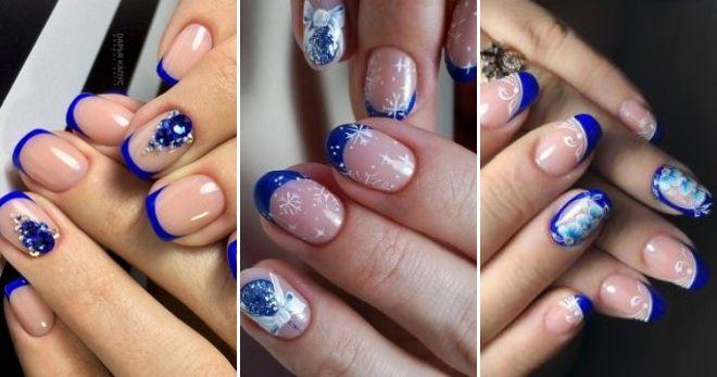 Ногти френч 2020 - модные идеи сезона синий