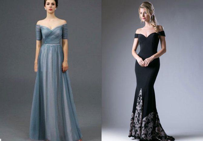Новогоднее платье 2020 года с открытыми плечами
