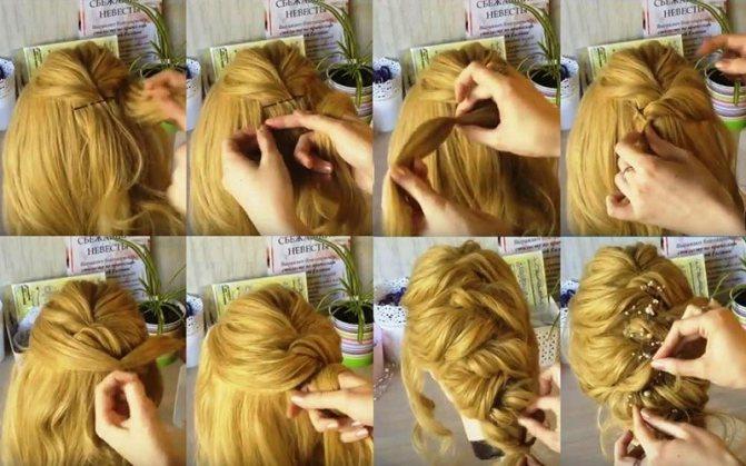 Объемная греческая коса с помощью резиночек пошагово