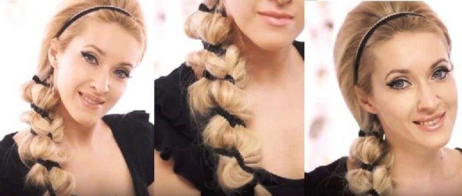 Объёмная коса с лентой
