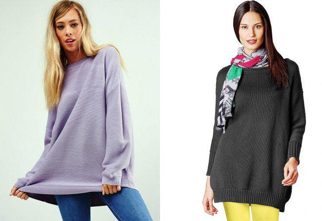 объемный длинный свитер