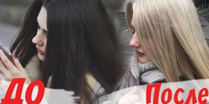 Обесцвечивание темных волос