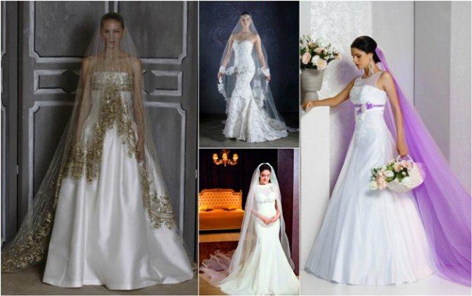 Один стиль фаты невесты и платья