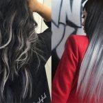Омбре на черные волосы