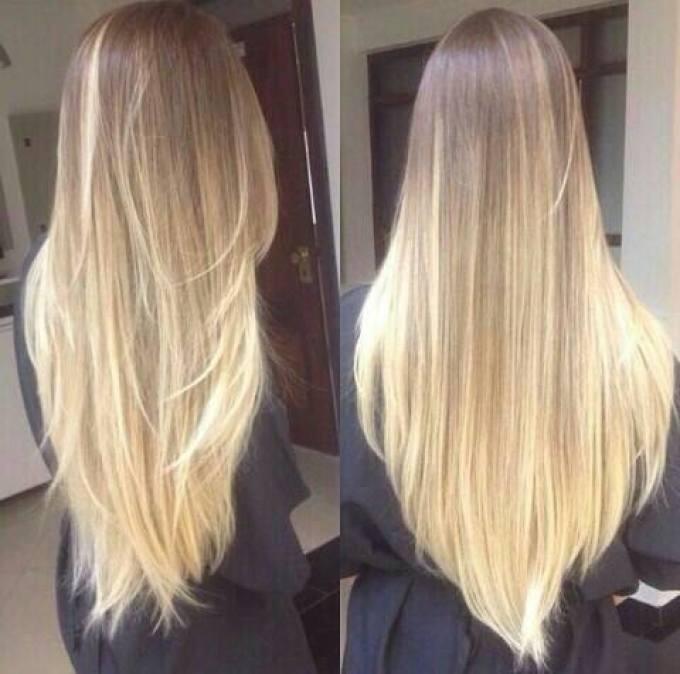 Омбре на светло-русые длинные прямые волосы