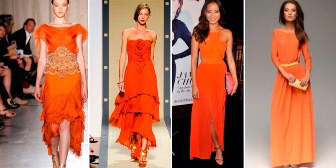 оранжевые платья новый год 2019