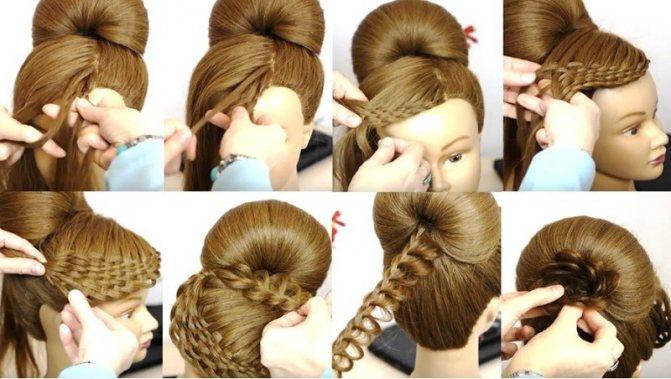 Оригинальная высокая причёска с плетёной чёлкой, этапы выполнения 2