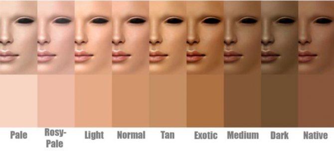 Палитра цвета кожи