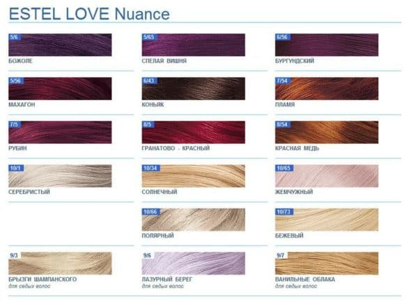 Палитра краски для волос Эстель Love Nuance