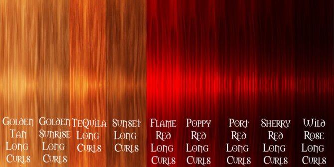 Палитра рыжих красок для волос