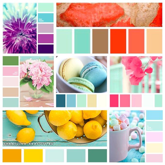 палитра сочетания мятного цвета в одежде