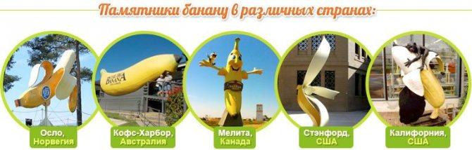 Памятники бананув городах: Осло (Норвегия), Кофс-Харбор (Австралия), Мелита (Канада), Стэнфорд (США), Калифорния (США)