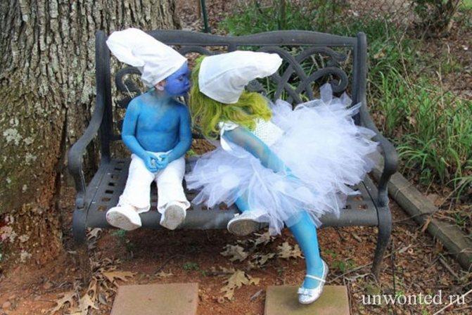 Парные костюмы Смурфики на Хэллоуин для детей
