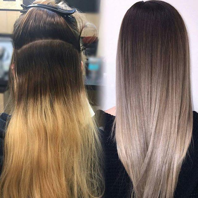 переход цвета волос от светлого к темному