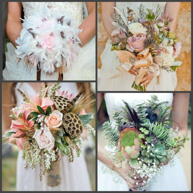 Перья в свадебном букете