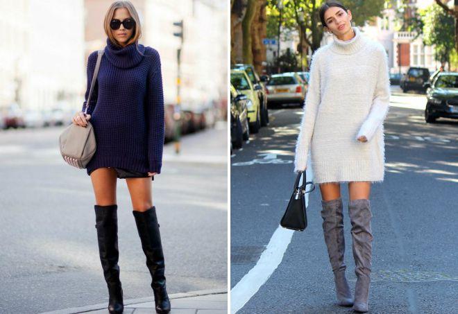 платье свитер с ботфортами