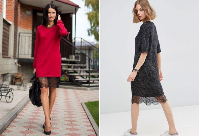 платье свитер с кружевом