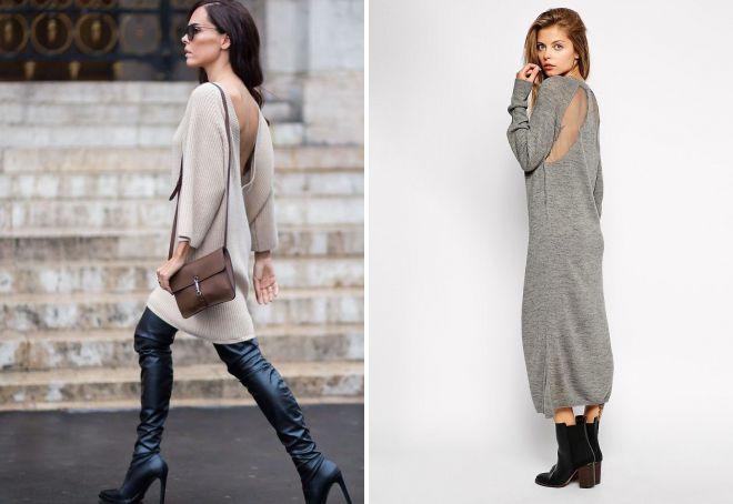 платье свитер с открытой спиной