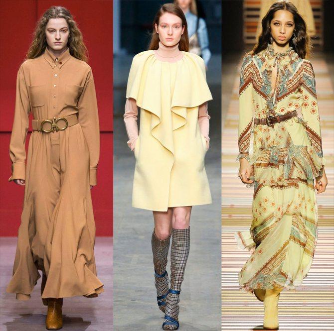 Платья желтых оттенков