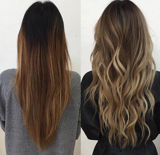 плавный переход волос от темного к светлому