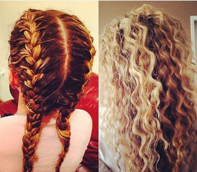 Плетение кос для получения волн