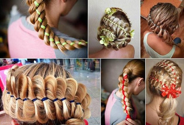 плетение с лентами в волосах