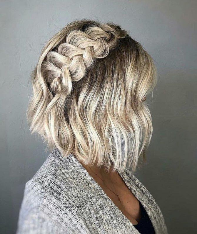 плетеные прически для коротких волос фото 3
