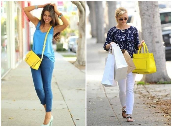 Подбор сумки желтого цвета к гардеробу