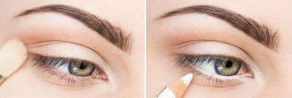 Подведение глаз светлым карандашом