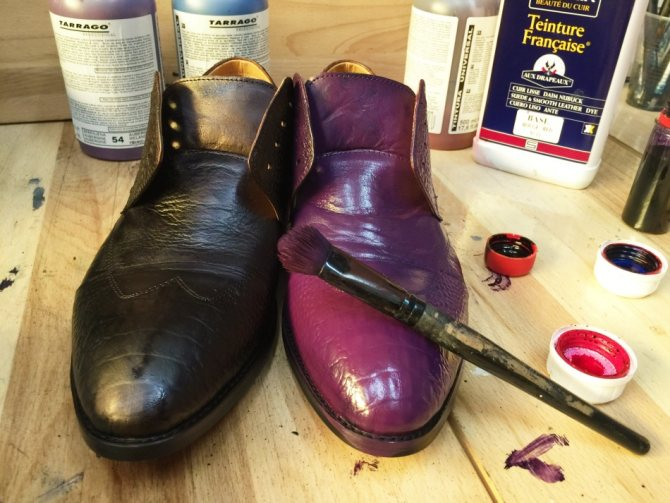Покрасить обувь из кожи