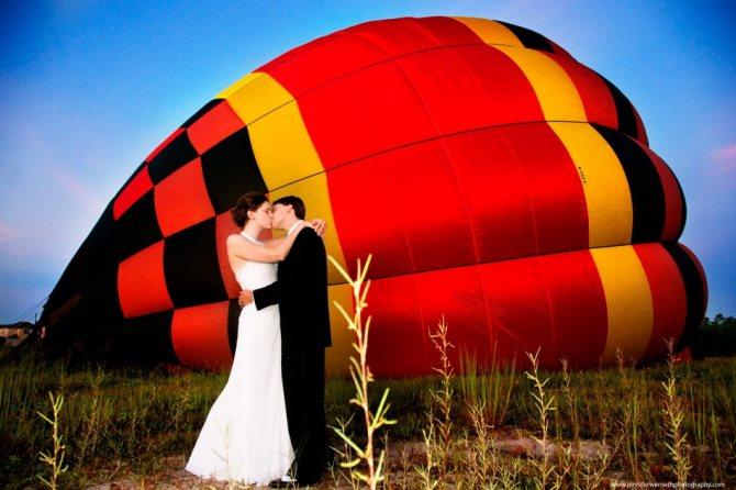 Полет на воздушном шаре в день свадьбы