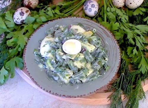 Полезный салат с авокадо и стручковой фасолью