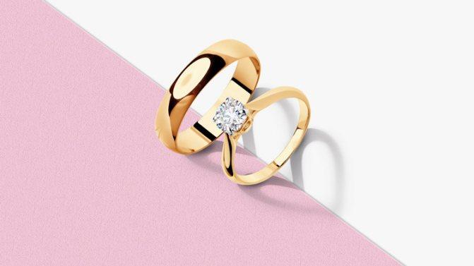 Помолвочное и обручальное кольцо SOKOLOV