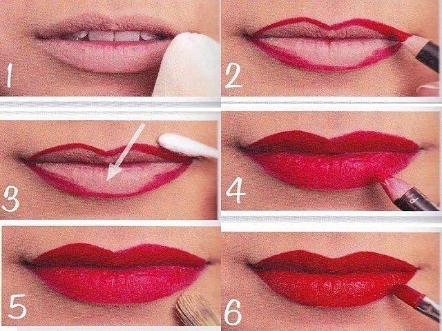 пошаговое видео как красить губы красной помадой