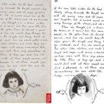 Последняя страница рукописи «Алиса под землёй» с рисунком и вклеенной на его место фотографией. Автор рисунка и фото — Льюис Кэрролл