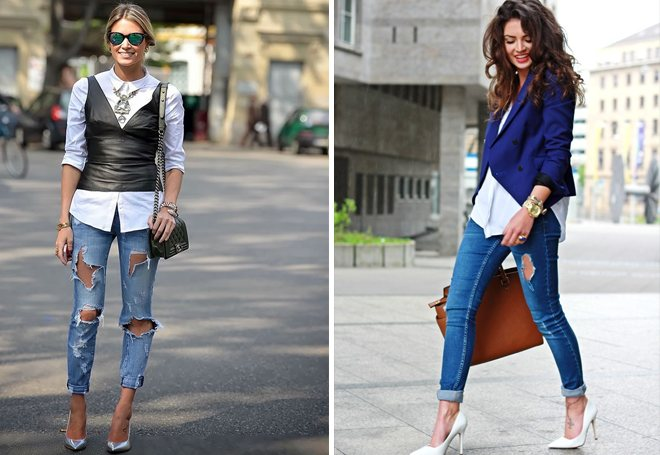 потертые джинсы и туфли лодочки