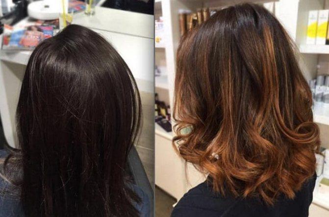 При темных волосах можно использовать также рыжие оттенки.