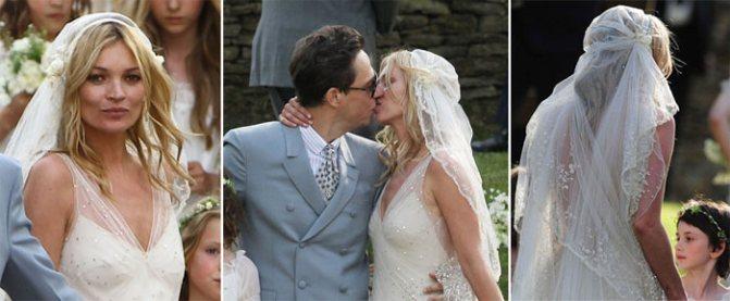 Прическа Кейт Мосс на свадьбу