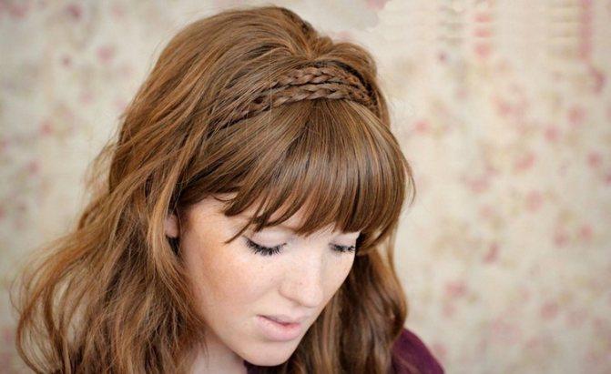 Прическа ободок из косички