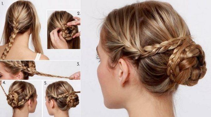 Прическа пучок из косичек на длинные волосы