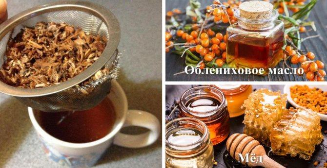 Приготовление отвара из коры с облепихой и мёдом