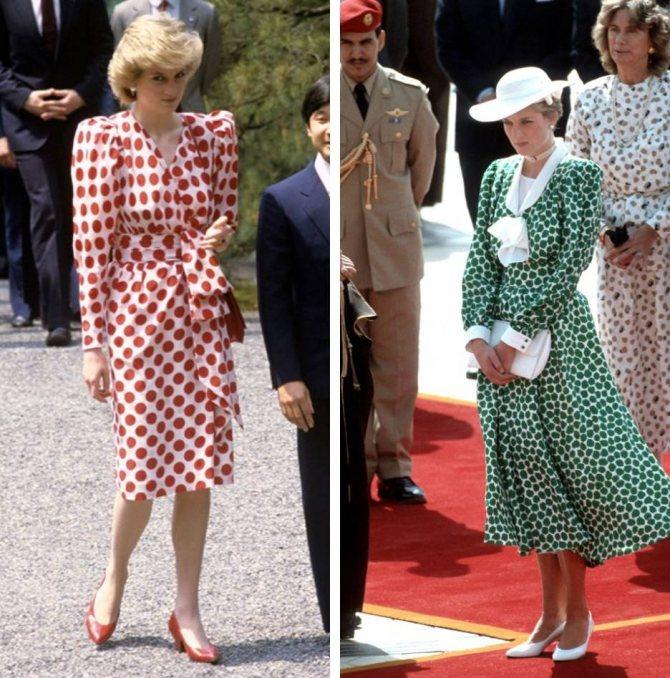 Принцесса Диана модные образы платье в горох