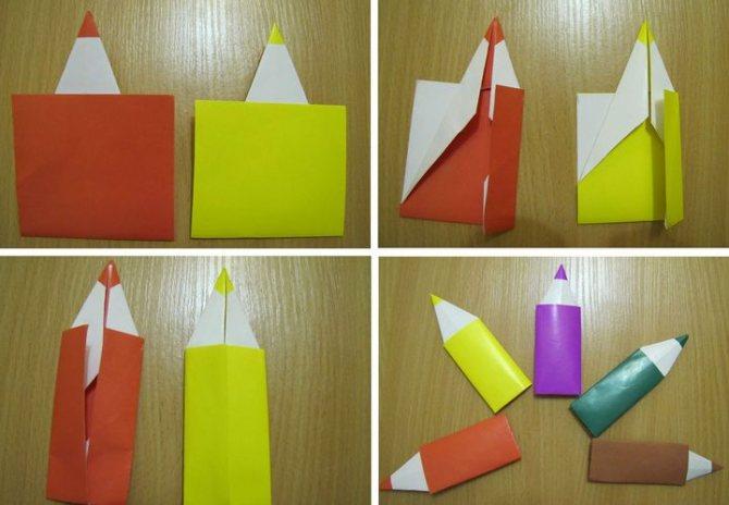 Процесс сборки оригами-закладки для книг Карандаши