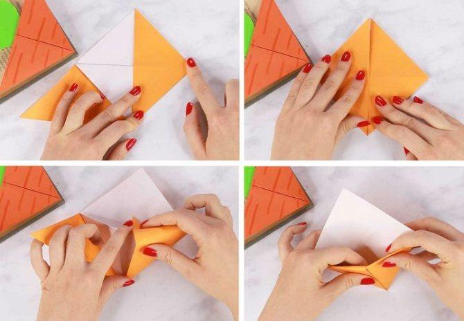 Процесс сборки оригами-закладки для книг Морковка