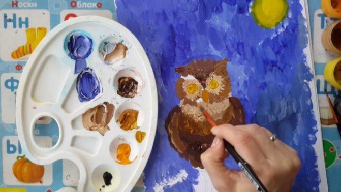 промежуточный этап рисования совы гуашью