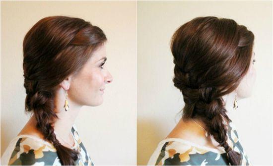 простая прическа на средние волосы с косой