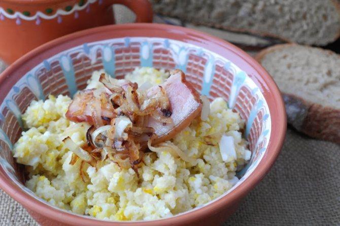 Пшенно-тыквенная каша с беконом и луком