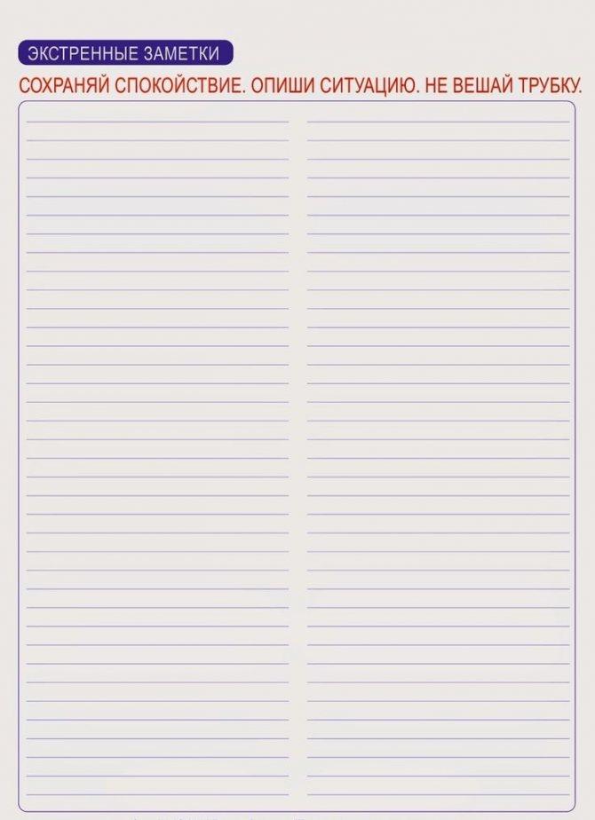 Пустой шаблон для записи планов по расхламлению дома по флай леди