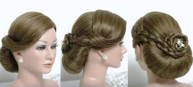 Ракушка из волос с гладкой чёлкой набок, декорированная косами и цветком