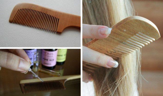 Расчёсывание волос деревянным гребнем